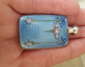 RESERVED FOR MIA Antique Sterling Silver Guilloche Enamel Perfume Bottle Flask