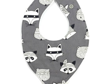 Grey Tribal Animals Faux Bandana Bib Baby Toddler waterproof dribble bib cotton