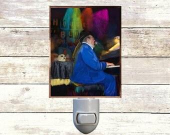 """Night Light, """"Dr. John"""", New Orleans Icons,  Handmade, Copper Foiled"""