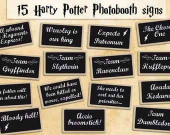 Printable Harry Potter photobooth props - instant download photo booth props garland & sign - harry potter party blackboard photobooth signs