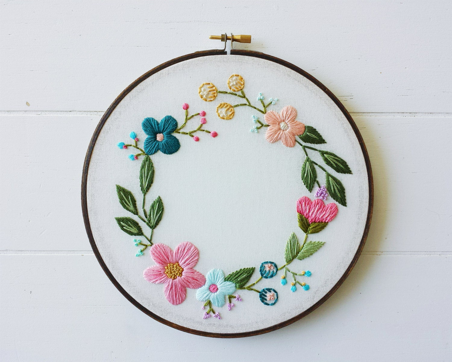 Hand embroidered art floral embroidery hoop wreath