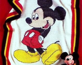 Vintage Crochet Pattern  Mickey Mouse Afghan    Blanket Bedspread Throw