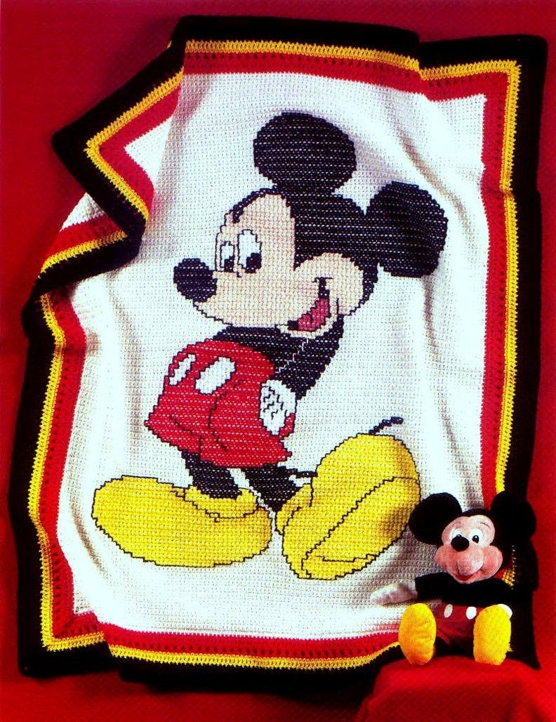 Vintage Crochet Pattern Mickey Mouse Afghan by ToysWereUsPatterns