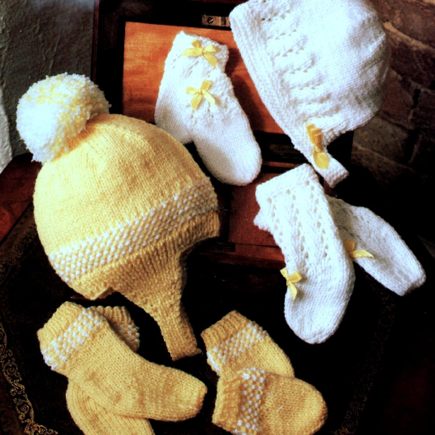 Knitting Pattern Vintage Hat : Vintage Knitting Pattern Baby Hat Socks and Mitts 2 Sets