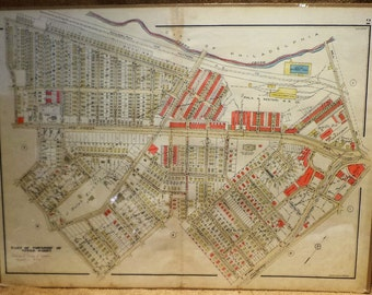 Vintage Map, Philadelphia Suburbs, Upper Darby Township, 1929, Historic City Planning, Antique Maps
