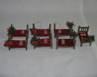 Set of 7 hand made Christmas ornaments decorations beds
