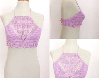 DIGITAL DOWNLOAD crochet pattern, festival top, halter bralette, crochet halter top, DIY crochet bikini top,  boho clothing, gypsy clothing