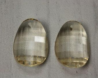 Champagne Crystal Faceted Cut Petal Pendants (2 Piece)