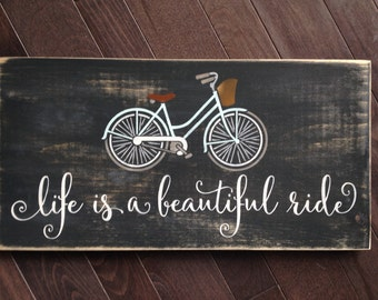 Life is a Beautiful Ride Vintage Bicycle Sign by, IzzyB Vintage Me
