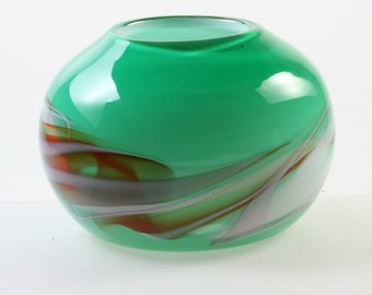 Opaque Hand Blown Closed Glass Bowl or Vase with Green Exterior and White Interior with White, Pink and Orange Swirls, Glass Art