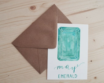 May Birthday Card - May Birthstone Card - Birthday Card - Emerald Birthday Card - Emerald Card - Watercolor Birthday Card