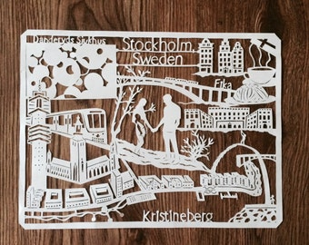 Custom City Papercut, Handcut paper art of your favorite place or location