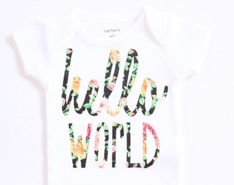 Baby girl clothes, Black Floral Hello World Newborn Onesie, coming home outfit, newborn outfit, hospital outfit, hospital onesie
