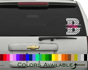 Chevron Initial with Name Car Decal