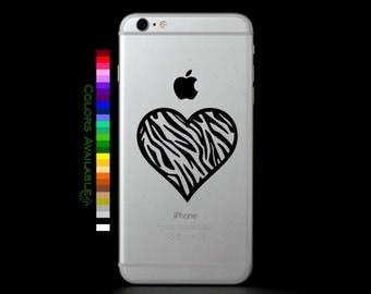 Zebra Heart Outline Phone Decal