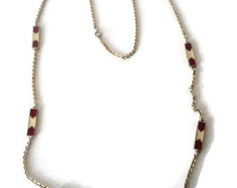 Red And Cream Enamel Bar Necklace