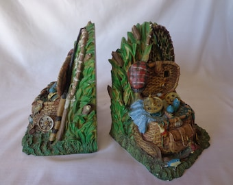 BOOKENDS ~  Fisherman's theme, bag, reel, lures, made of resin