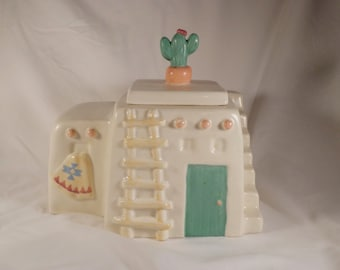 COOKIE JAR ~  Adobe House, Treasure Craft, Stairway and Ladder