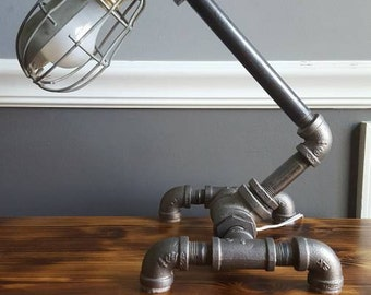 Industrial pipe lamp w/ metal cage and Edison bulb FREE SHIPPING!