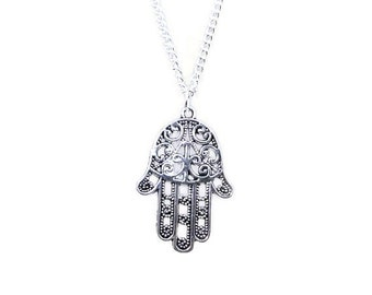 Silver Hamsa Hand Necklace, Hamsa Jewellery, Evil Eye Jewellery, Hamsa Hand Jewelry, Evil Eye Jewelry, Silver Hand Necklace, Hand Necklace