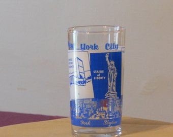 New York City Souvenir Blue & White Glass. Federal Glass.