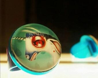 Adjustable ring with unicorn Susi's original artprint big eye lowbrow horse many colors nickelfree