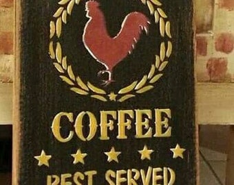 Red Rooster Coffee sign 7x18 hand painted