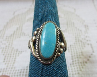 Vintage Bell Trading Post  Native American Indian sterling turquoise ring size 6 1/2