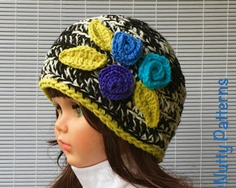Crochet Pattern * April Hat * Instant Download Pattern #439 * girls * baby, toddler, children, teen adult sizes * easy * Pdf *flowersr
