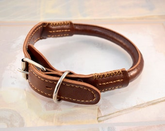 "Rolled Leather Dog Collar and Leash Set Rolled Round Soft Brown Handmade PU Leather Dog Collar -  14"" to 27"" Neck Size"