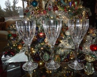 SET of THREE WINE Glasses or Water Goblets