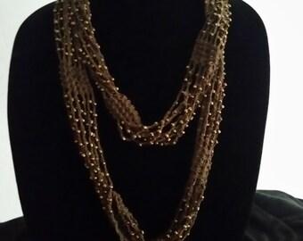 Brown Beaded Crochet Necklace