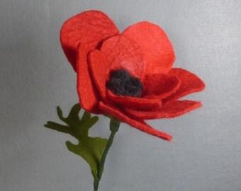 Red Felt Poppy - Artifical Flower on a Long Stem - Fake Flower - Felt Flower - Artificial Poppy - Fake Poppy - Red Flower
