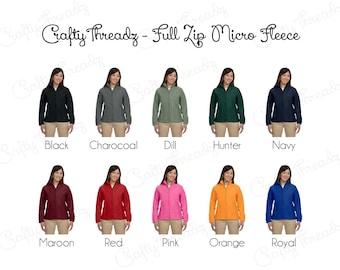 Ladies Monogrammed Full Zip Fleece Jackets,Nurses Jackets, Sorority Jackets, Monogrammed Jackets