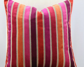 Designer stripped fabric,pillow cover,throw pillow,decorative pillow,accent pillow,lumbar pillow,same fabric on front and back.