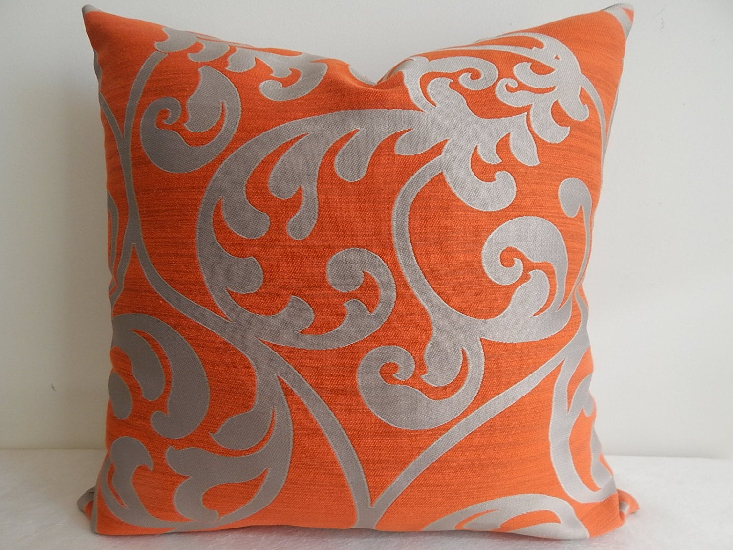 designer orange and grey pillow coveraccent pillowdecorative. Black Bedroom Furniture Sets. Home Design Ideas