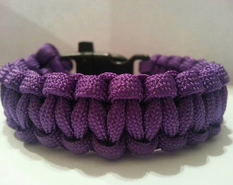 Large Purple Paracord Bracelet With Whistle Buckle