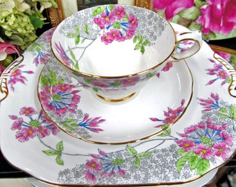 Grosvenor tea cup and saucer plus cake plate floral and painted teacup set