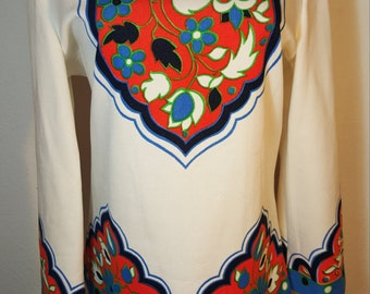 FREE  SHIPPING  Vintage Psychedelic Mod Shirt Tunic