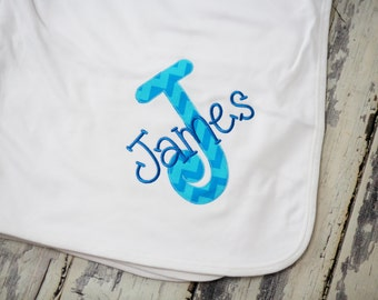 Personalized Embroidered and Appliqued Knit Receiving Blanket