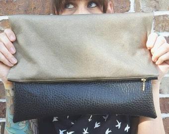 The Courtney - Faux Leather Colorblock Foldover Clutch Handbag