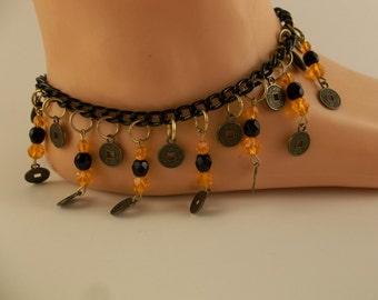 Glass Beaded Ankle Charm Bracelet Orange