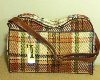 Vintage Plaid Overnight/Carry on Bag/Universal Travel/gold/tan/brown plaid/gift