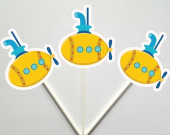 Submarine Cupcake Toppers