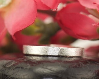 Sterling Silver Wedding Band with 14k White Gold Overlay, Satin Finish, 3mm, Stackable, Comfort Fit, Annie