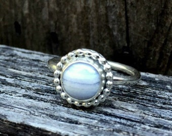 Sterling Silver Ring, Blue Lace Agate Ring, Silver Ring, Silver Band,  Size 8 Ring, Stacking Ring, Gemstone Ring, Blue Stone Ring