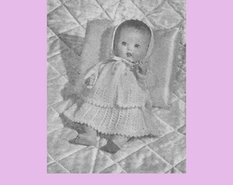 A vintage 1954 knitting pattern to knit a Layette for 11 inch Baby Dolls in vintage 3ply
