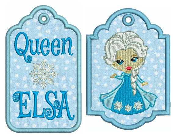 In the hoop tags queen elsa machine applique by embroiderblock