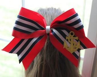 Striped Anchor Cheerleading Bow