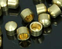 20 pcs 4 X 3.5 mm 3 mm inner without loop raw brass cord  tip ends, raw brass ends cap, ENC3 R1228